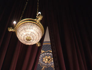 Broadhurst Theatre Interior, Box Chandelier and Ceiling.jpg