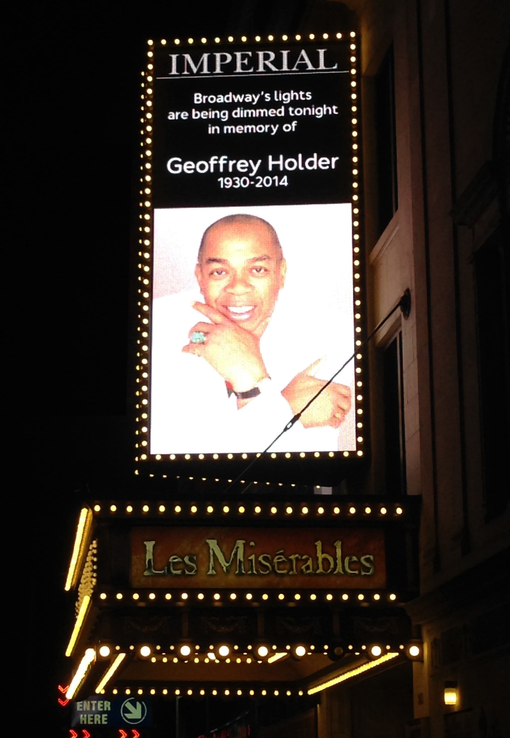 Broadway honors Geoffrey Holder, Tony Award-winning director of 'The Wiz'